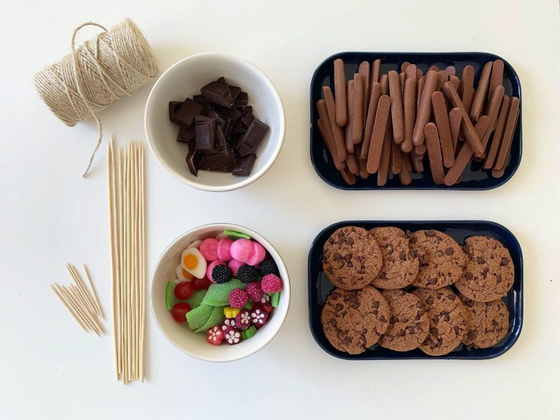 matériel pour le DIY jardinière en bonbon
