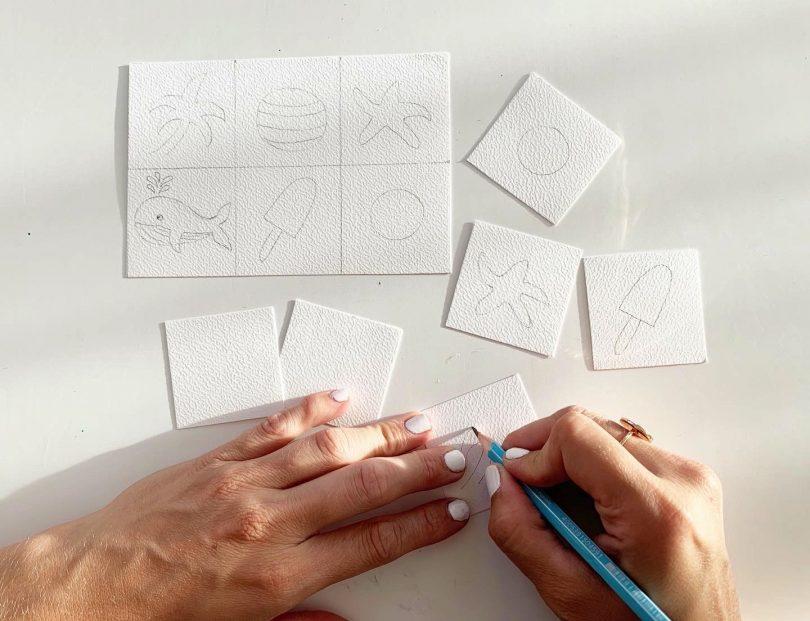 Dessiner les images de la mer sur le loto pour enfants