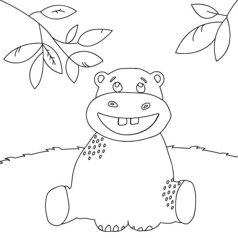Colorier l'hippopotame rigolo